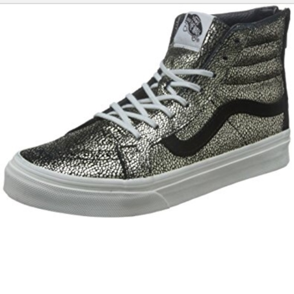 9622a5473f Vans speckled gold and black high tops with zipper.  M 5a6274ff9a94550a04e3148d